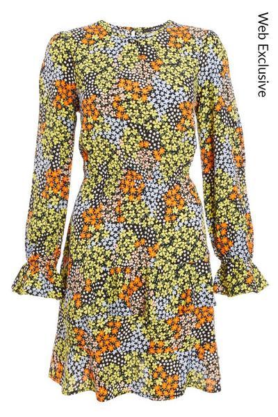 Multicoloured Floral Frill Skater Dress